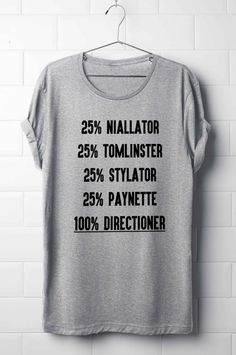 One Direction T-Shirt, Niall Horan, Liam Payne, Harry Styles, Louis Tomlinson, 100% Directioner T-Shirt, Boy Band T-Shirt's