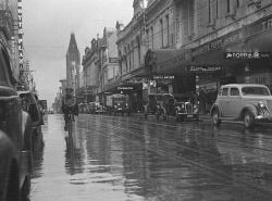 Historic Photos Perth: TWA-0007912 © WestPix FLOODS AND STORMS IN THE WINTER OF 1939. HAY STREET, PERTH.