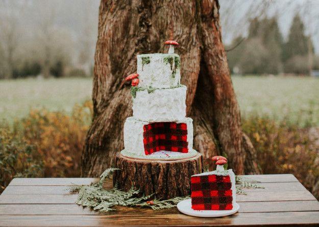 This woodsy cake with an amazing plaid design on the inside. | 24 Wedding Cakes That Made 2016 So Much Sweeter