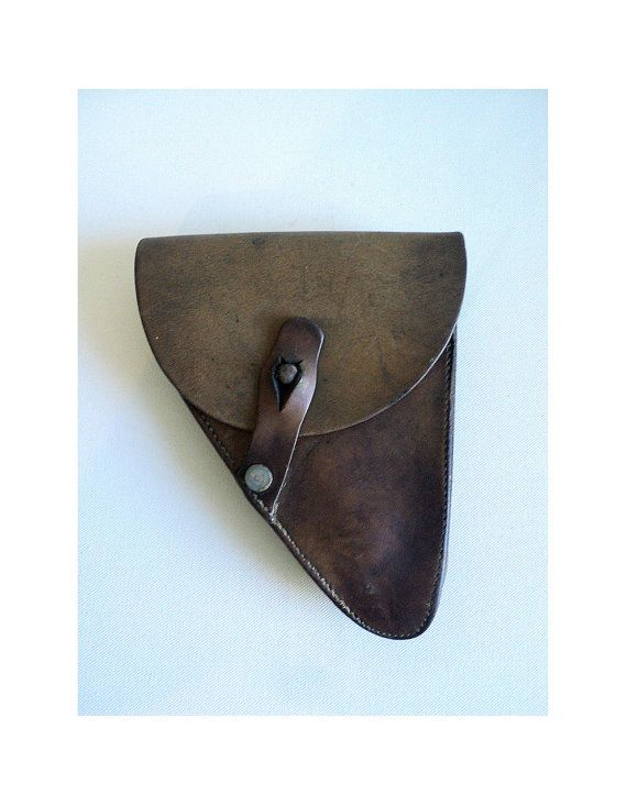 French Leather Holster Gun Case Militaria by LaBelleEpoqueDeco