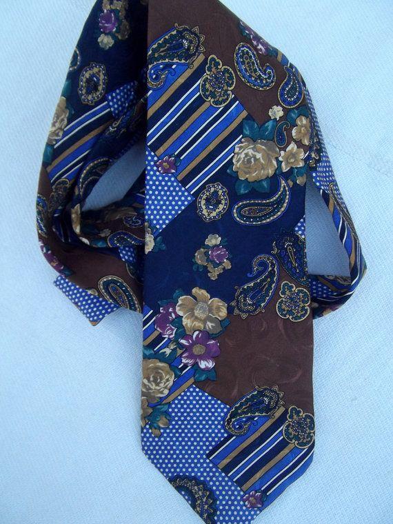 Kenzo jacquard silk vintage tie paisley geometric by CHEZELVIRE, $10.00