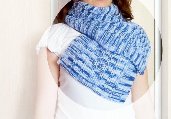 Knitted shawl blue scarf blue shawl shawl wrap by MKedraHandmade