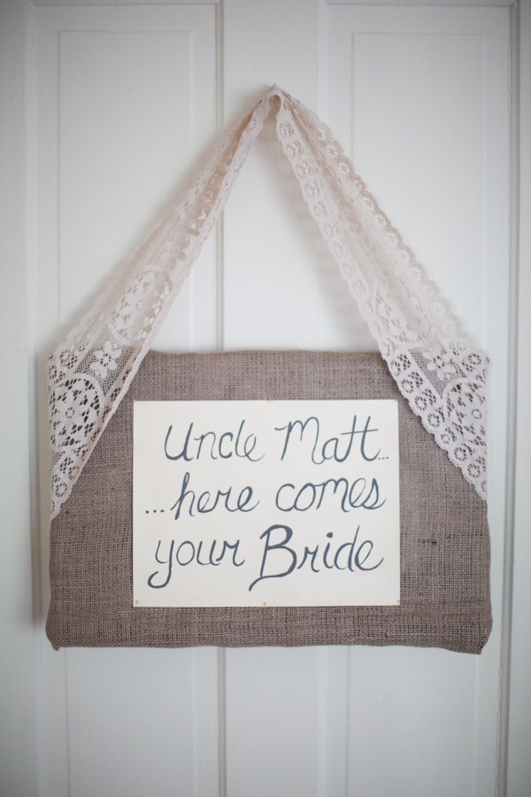 "Flower Girl or Ring Bearer can carry sign to indicate their relationship with the couple. Our flower girls could carry a sign that says: ""Uncle Johnny, here come your bride"""