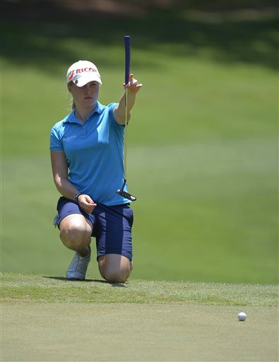 Charley Hull of England lines up a putt on the ninth green during the second round of the Airbus LPGA Classic golf tournament at Magnolia Grove on Friday, May 23, 2014, in Mobile, Ala. (AP Photo/G.M. Andrews) ▼23May2014AP|Catriona Matthew leads Airbus LPGA Classic http://bigstory.ap.org/article/catriona-matthew-leads-airbus-lpga-classic-0