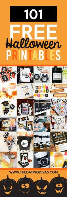 OVER 100 FREE Halloween Printables!! Including Halloween decor, gifts and treat tags, party supplies, and Halloween crafts and activities! From The Dating Divas