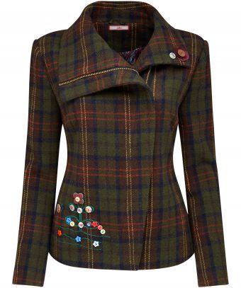 Full of charm and so quirky, this Checked Biker Jacket boasts embroidery and embellishment for a truly unique look. Complete with a concealed zip, team it with a great pair of jeans and your favourite winter boots. Approx Length: 61cm Our model is: 5'7""