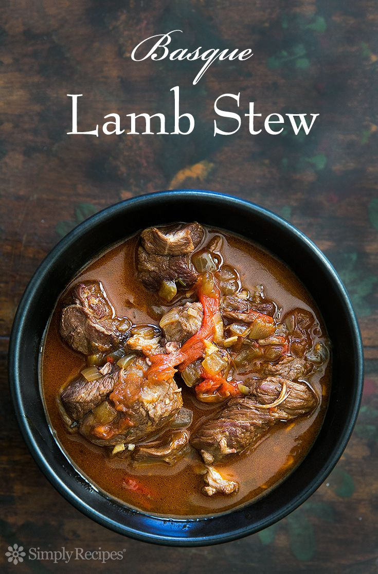 Basque Lamb Stew ~ Marinated, slow-cooked, lamb stew with lamb shoulder, garlic, rosemary, onion, paprika, roasted bell peppers, tomato, parsley, red wine, and chicken stock. ~ SimplyRecipes.com