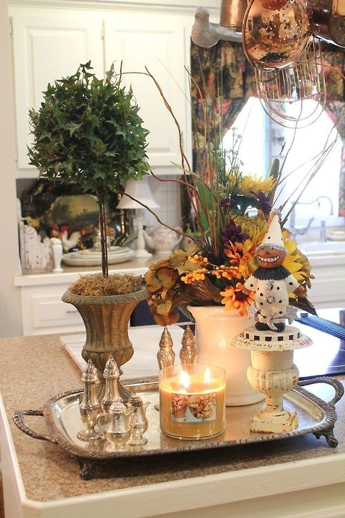 French Country Kitchen Vignette For Fall Country