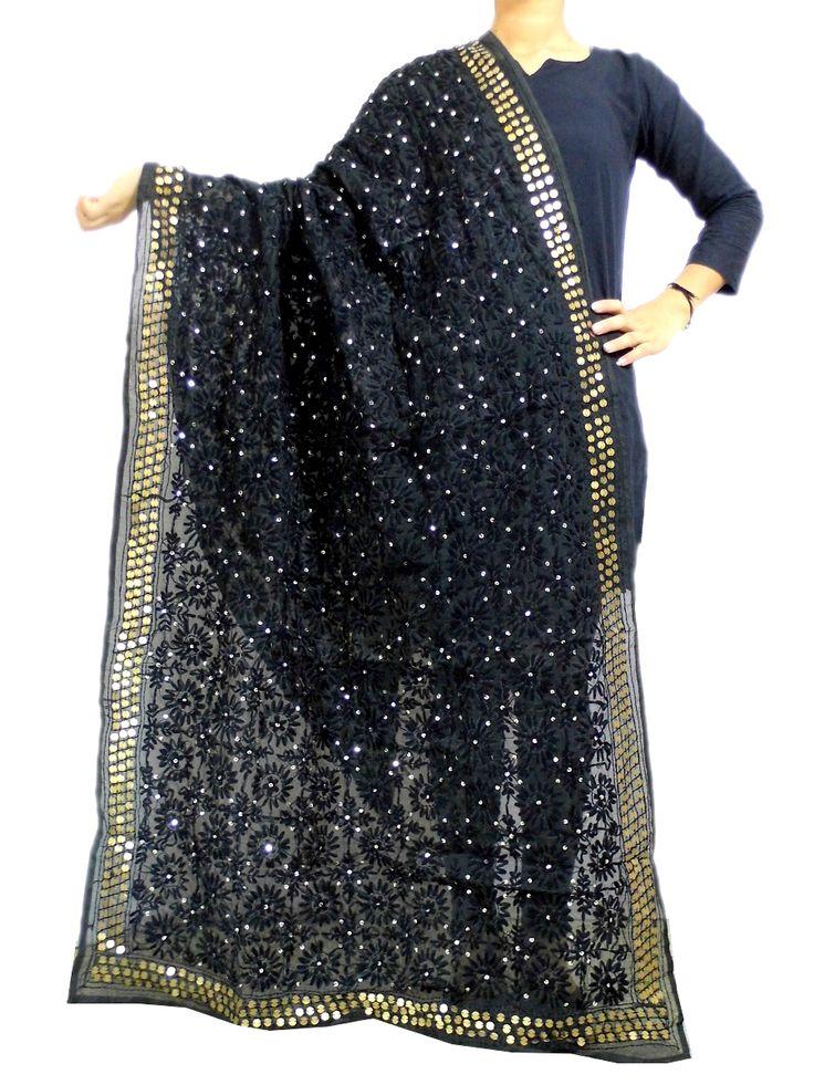 Phulkari Dupatta on Chanderi Fabric -Black