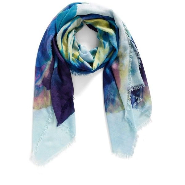 Nordstrom Solar Floral Cashmere & Silk Scarf (705 EGP) ❤ liked on Polyvore featuring accessories, scarves, floral shawl, nordstrom scarves, cashmere wrap shawl, silk shawl and pure silk scarves