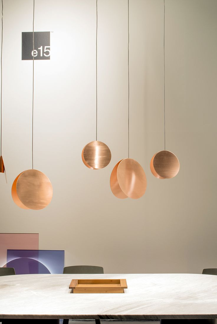 Spot on: #e15 pendant light NORTH by Studio Besau Marguerre in solid copper @immcologne 2016. / www.e15.com #immcologne #exhibitiondesign