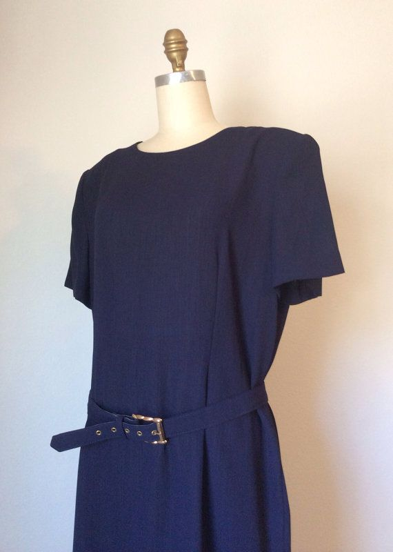Vintage 80s Navy Blue Basic Shift Dress With Matching Belt // Plus Size 18 Oversized Leslie Fay ...