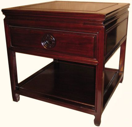 Oriental Furnishings   Rosewood Chinese Ming Style End Table Or Night Stand  With Drawer And Shelf