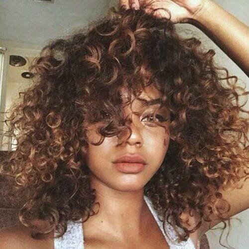 Curly Caramel Balayage