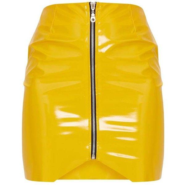 Yellow Zip Front Vinyl Mini Skirt ($28) ❤ liked on Polyvore featuring skirts, mini skirts, short skirt, front zipper skirt, vinyl mini skirt and vinyl skirt