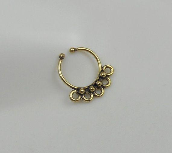 Fake Septum Ring Septum for non Pierced Nose Brass by naharganesh