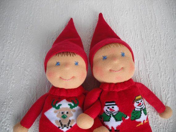 Christmas Elf Doll in Waldorf style #christmaself #kindnesself #christmasdecor #babychristmas