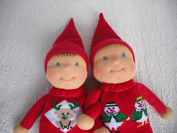 Christmas Elf Doll in Waldorf style #christmaself #kindnesself #christmasdecor #babychristmas