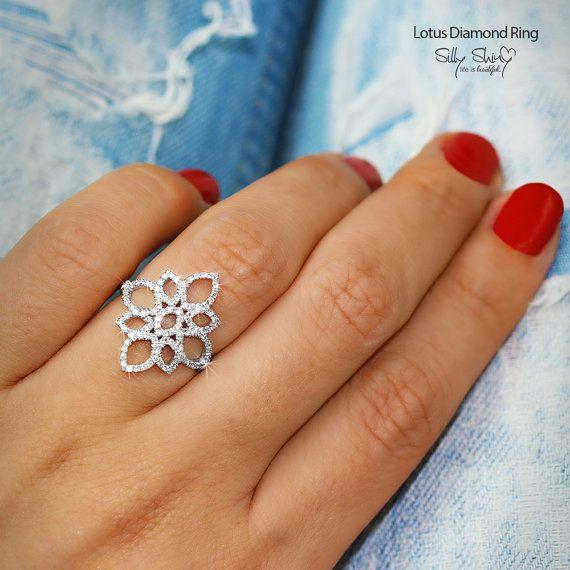 I want!!!! Lotus Flower Diamond Ring  The Original 14K by SillyShinyDiamonds, $965.00