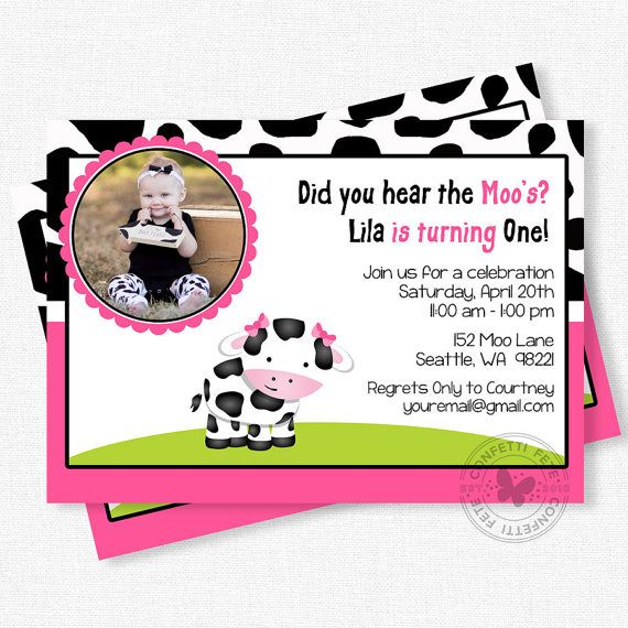 Cow Birthday Invitation First Birthday Invitation Pink Cow
