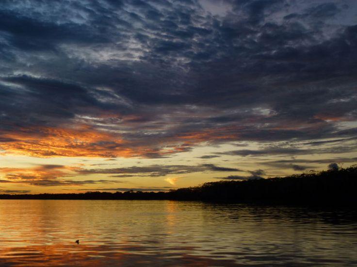 night falls on the Amazon #AmazonAdventure  Amazon river cruise in Peruvian Jungle. #AtoZChallenge: U Under the stars