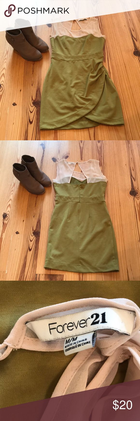 Green Mini Dress Forever 21. Mesh top with cutout Green Mini Dress Forever 21.  Mesh top with cutout on back Size medium Form fitting Ruched side So cute! Forever 21 Dresses Mini