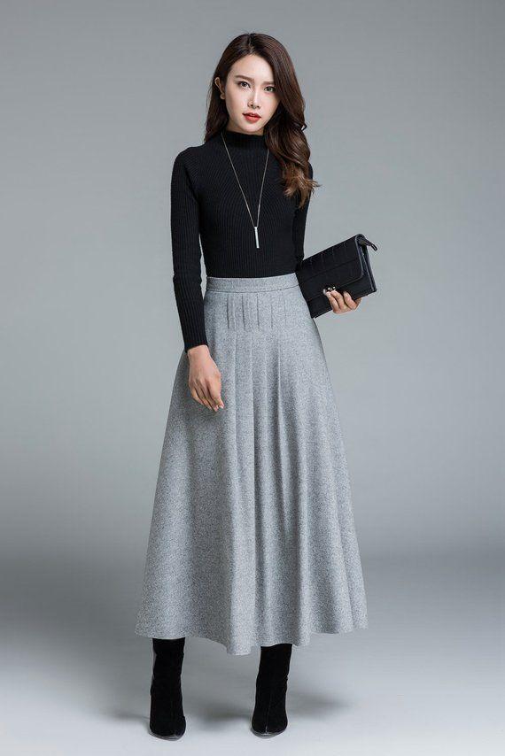 Light gray skirt, wool skirt, winter coat, pleated skirt, maxi skirt, winter wool …