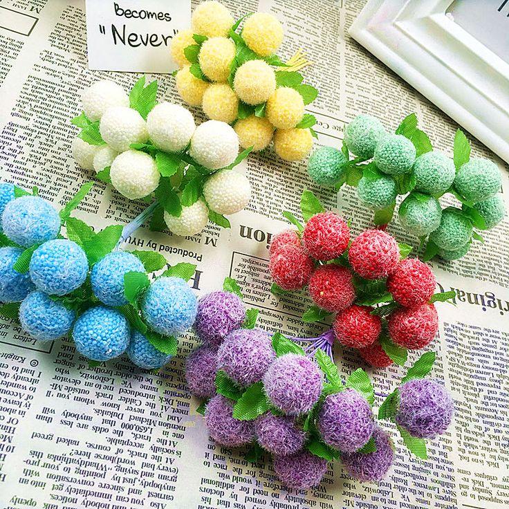 10 unids (10 cm/haz) de simulación de flores artificiales ramos de pelusa bola burbuja/decoración del hogar productos de la boda de diy navidad