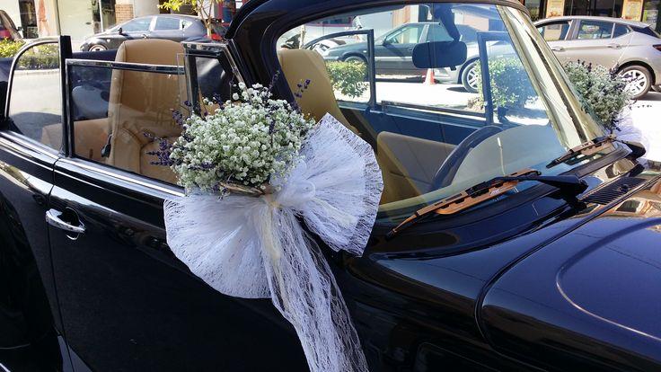VW beetle wedding car decoration flowers