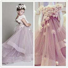 Очаровательная григория Jabotian цветок девочка платья с ручной работы цветы малыш день рождения платье реальный образец длинная малыша конкурс платье(China (Mainland))