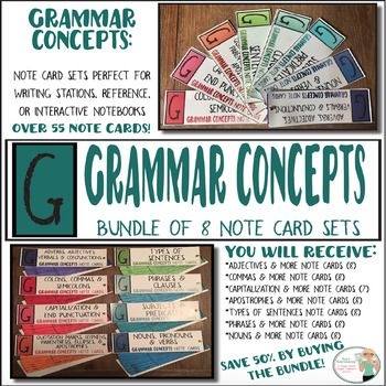 UPDATED & IMPROVED Grammar Concepts BundleSave 50% by purchasing this bundle versus purchasing each note card set by itself! These beautiful note cards are a handy, portable, and comprehensive resource that are Common Core aligned and include easy to follow rules and clear examples for: parts of speech, capitalization, punctuation, phrases, clauses, sentence types, and sentence purposes.These grammar fans are a great resource tool for all writers.