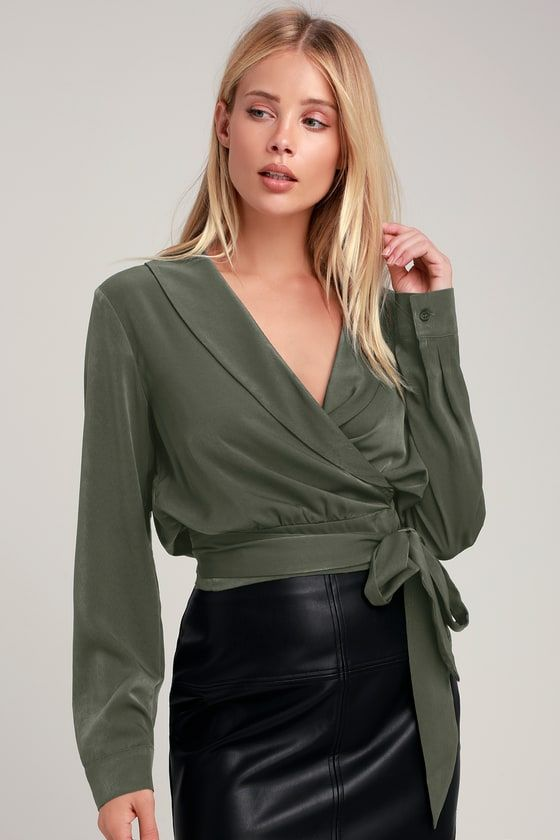 ff54380ecc7 Lulus Exclusive! The Lulus Beckham Olive Green Satin Long Sleeve Wrap Top  is always a party starter! Soft and sleek satin shapes long sleeves with  button ...
