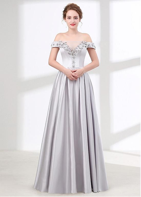 fc9599a180 Magbridal Fashionable Stretch Satin Off-the-shoulder Neckline A-line Bridesmaid  Dress With Handmade Flowers   Beadings