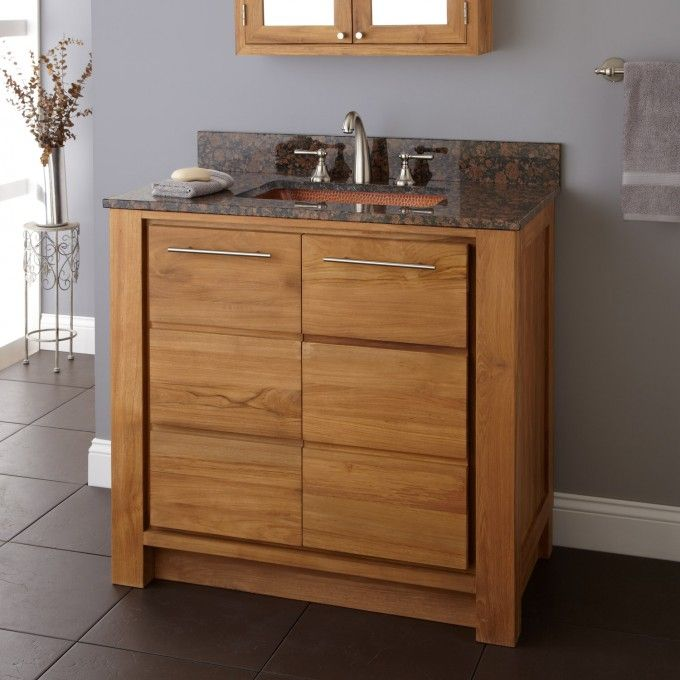 "36"" Venica Teak Vanity for Rectangular Undermount Sink"