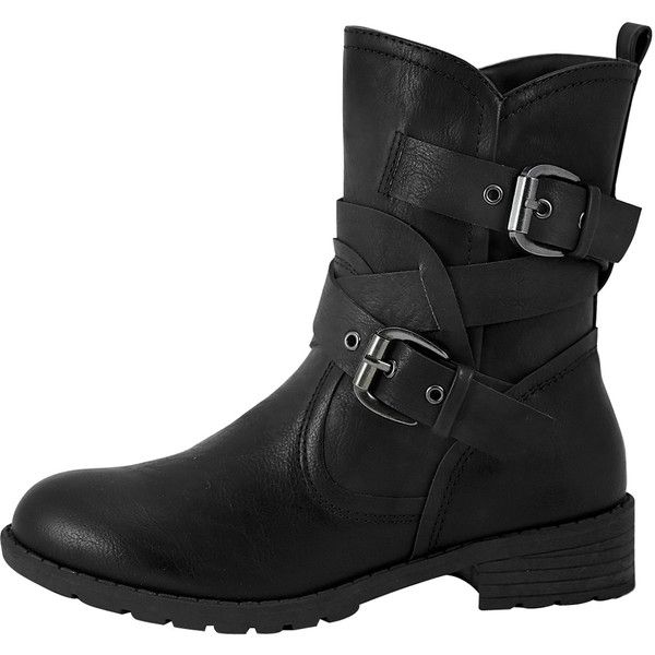 Womens Ankle Boots Wrap Around  Buckle Strap Motorcycle Riding Shoes... ($30) ❤ liked on Polyvore featuring shoes, boots, black, short combat boots, short boots, black shoes, combat boots and ankle combat boots