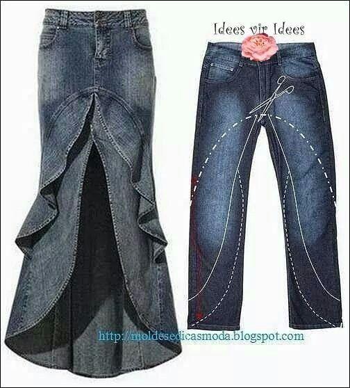Denim pants to skirt.