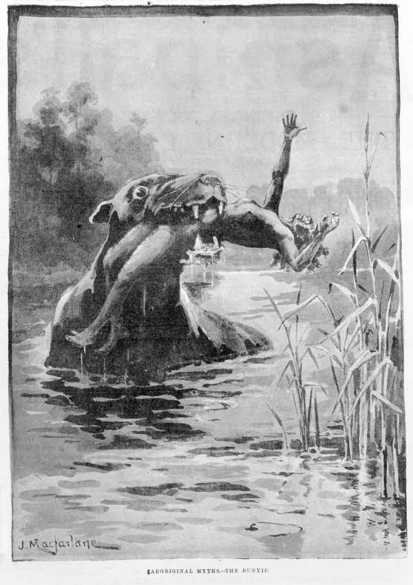 The bunyip, or kianpraty, is a large mythical creature from Aboriginal mythology, said to lurk in swamps, billabongs, creeks, riverbeds, and waterholes.