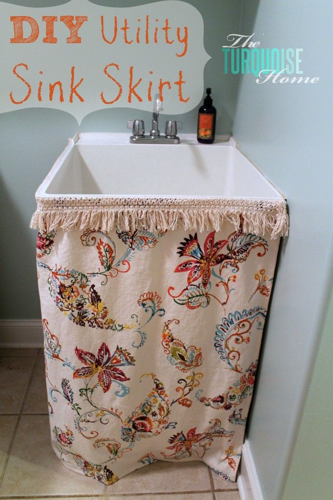 DIY Utility Sink Skirt | The Turquoise Home #diy #laundryroom