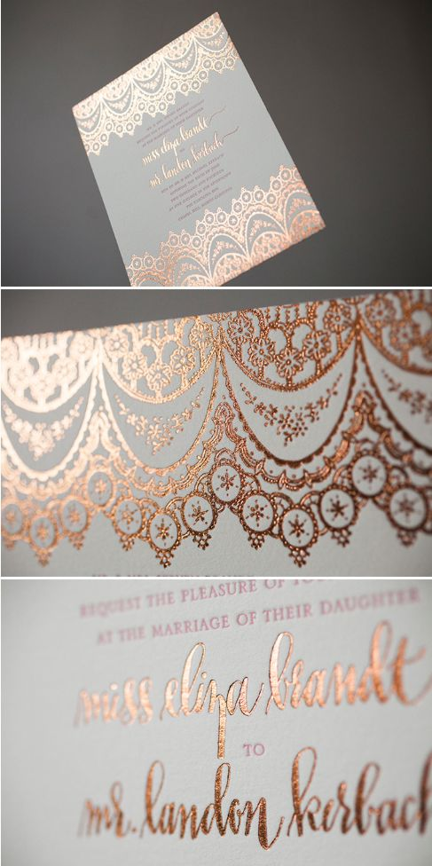 Istanbul Lace Bella Figura wedding invitation with copper shine foil/designsgirl calligraphy