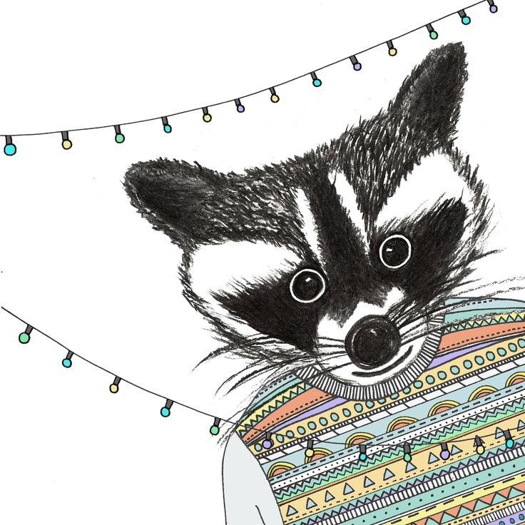 my little charcoaled raccoon, available on canvas or print until friday! @Jo Hudock Deer    http://ohhdeer.com/charcoaled-raccoon  #illustration #print #canvas #raccoon #charcoal #aztec #jumper #lights #art #whiskers