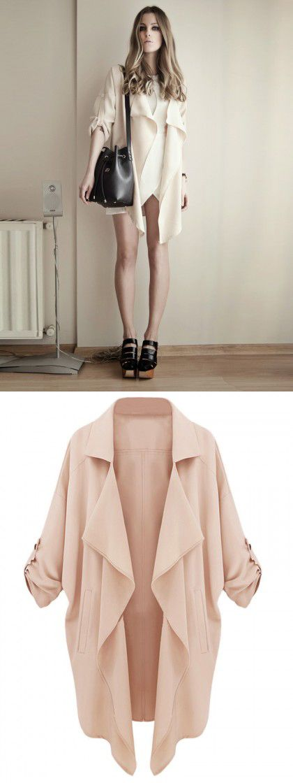 Beige Lapel Roll Up Sleeve Open Front Trench Coat