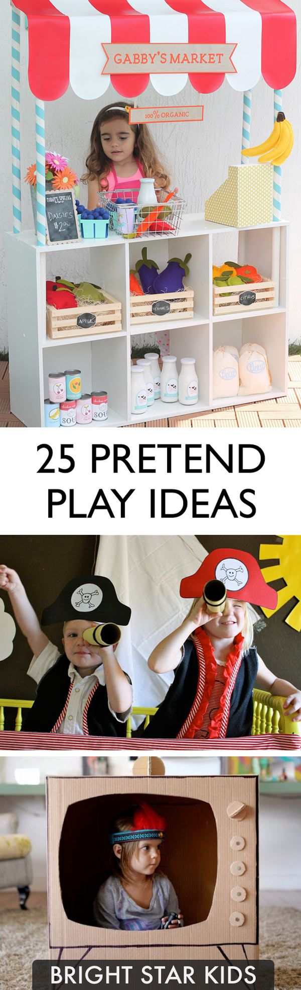 Pretend playing is good for your child's imagination, and develops vital social, language, thinking and emotional skills. For more kid related ideas, go to: blog.brightstarkids.com.au #pretendplay #imaginaryplay #playideas