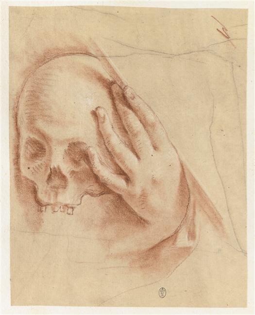 """""""Main posée sur un crâne"""", Anonyme. Paris, musée du Louvre, D.A.G. - Photo (C) RMN-Grand Palais (musée du Louvre) / Adrien Didierjean"""