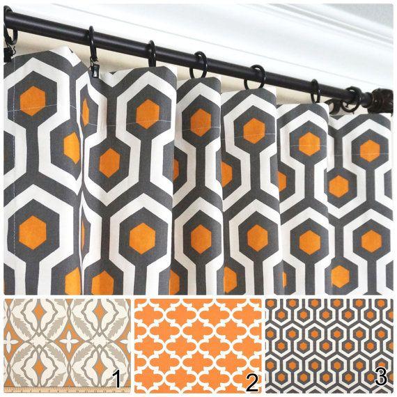 Orange Window Curtains Grey Curtain Panels Orange Kitchen Curtains