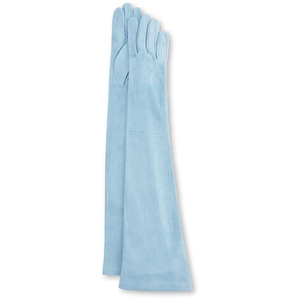Guanti Giglio Fiorentino Long Suede Gloves (15.200 RUB) ❤ liked on Polyvore featuring accessories, gloves, accessories gloves, blue, suede gloves, suede leather gloves, long gloves, blue gloves and long blue gloves