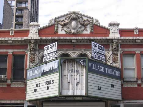 Village Theater [Chiacgo, Illinois] The Village Theater, formerly the Germania, was built in 1916 next door to the 1888 Germania Club. This theater closed down in 2006, and its future remains uncertain at this point.