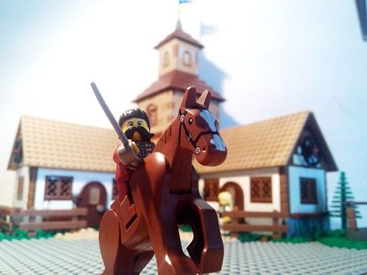 Lego ukrainian cossak. Village in Ukraine. Bogdan Khmelnytskiy in Subotiv.