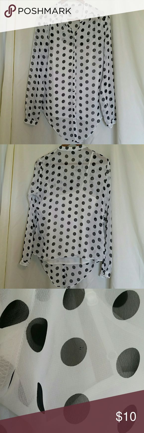 Sheer polka dot retro look long sleeve shirt Super cute retro looking sheer black and white button down blouse by Worthington. Comes with a separate ivory camisole for underneath.  Great condition but tiny pin sized hole on back shoulder (3rd photo) Worthington Tops Button Down Shirts