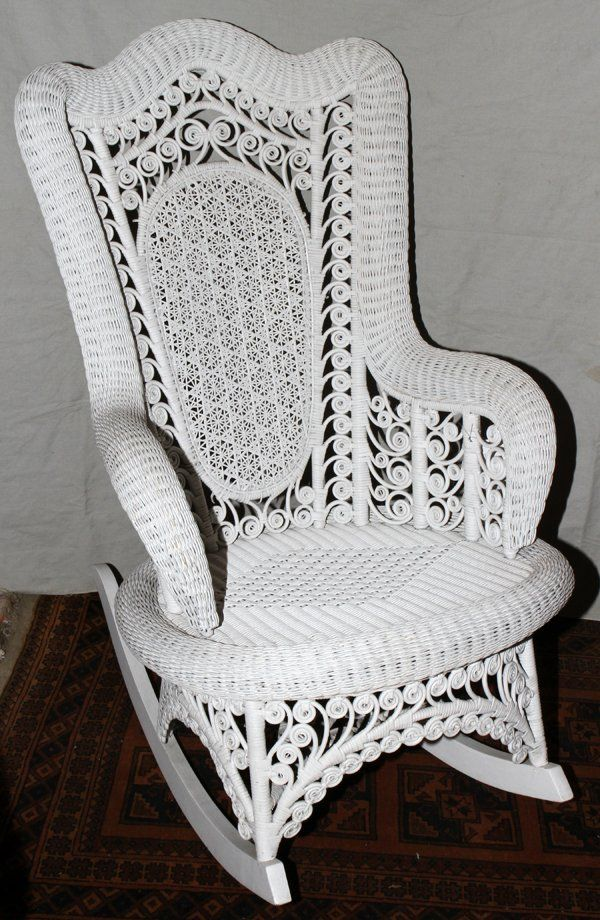 ornate painted wicker rocking chair