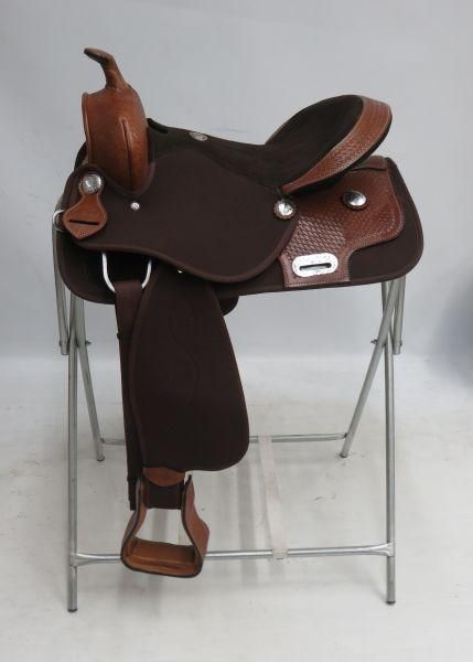 "SALE ! ONE OF A KIND 16"" Double T Synthetic saddle with tooled leather trim"